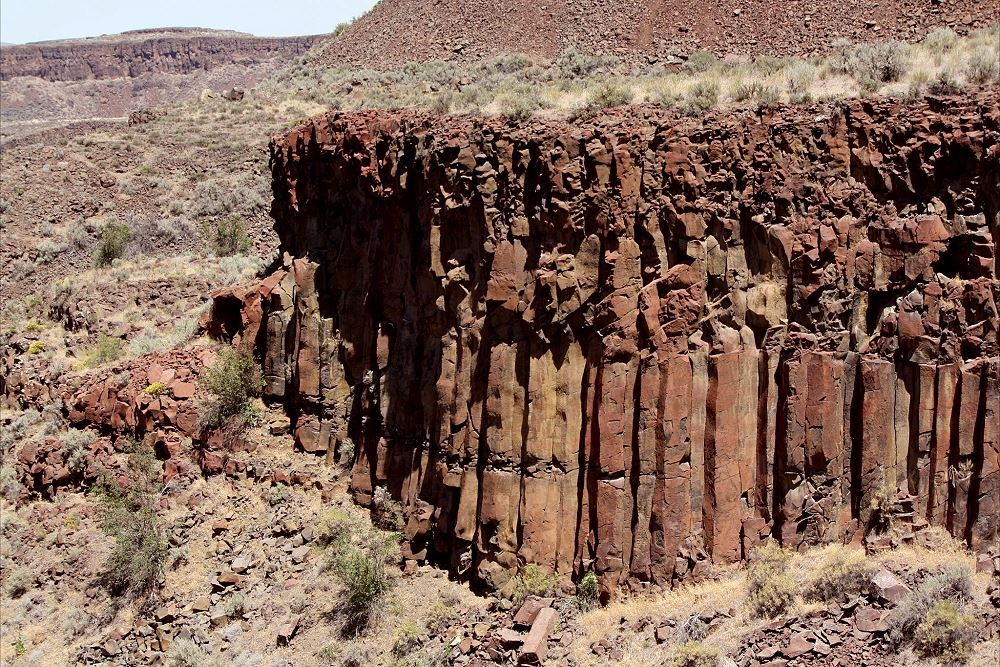 View of the side of one of the Basalt Columns