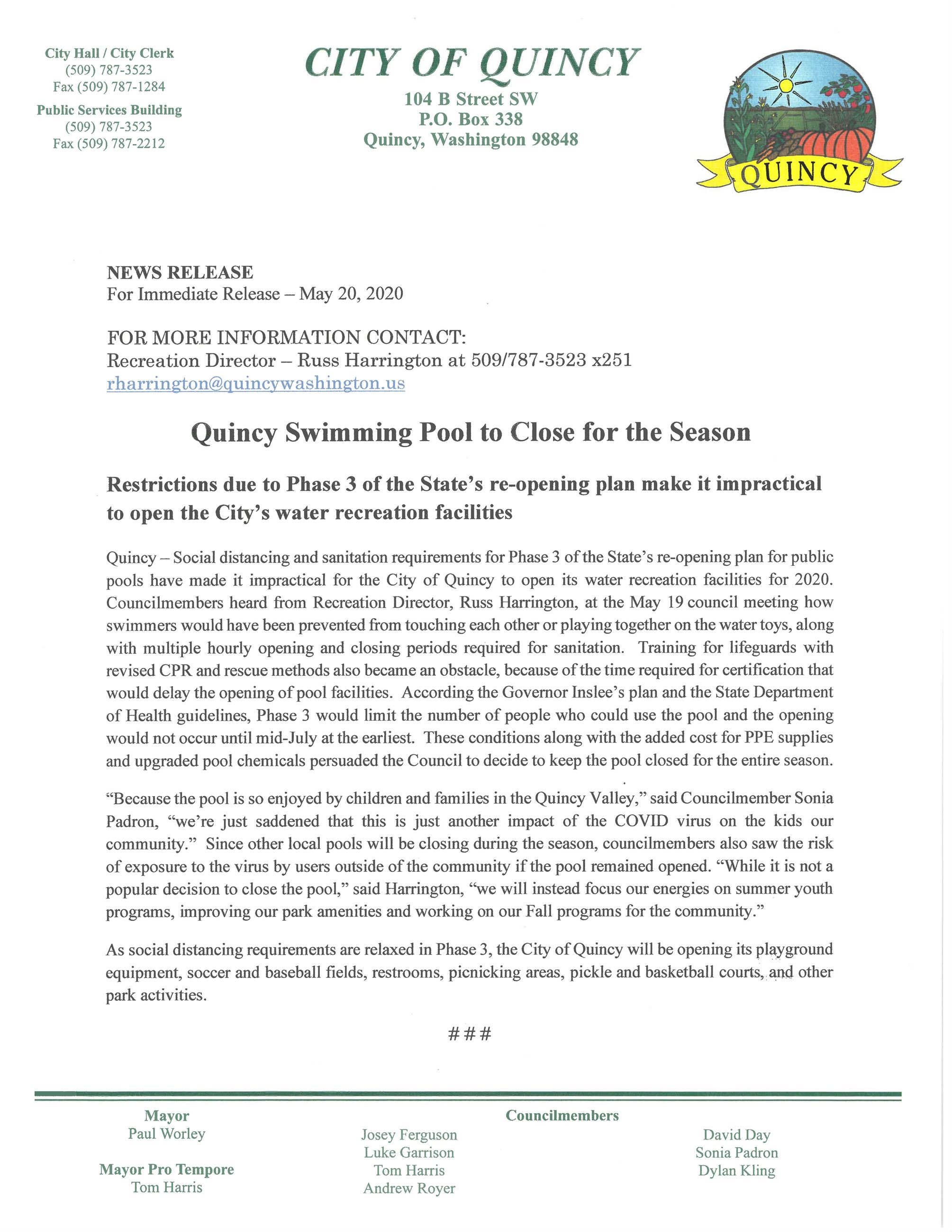News release - Pool Closure Opens in new window
